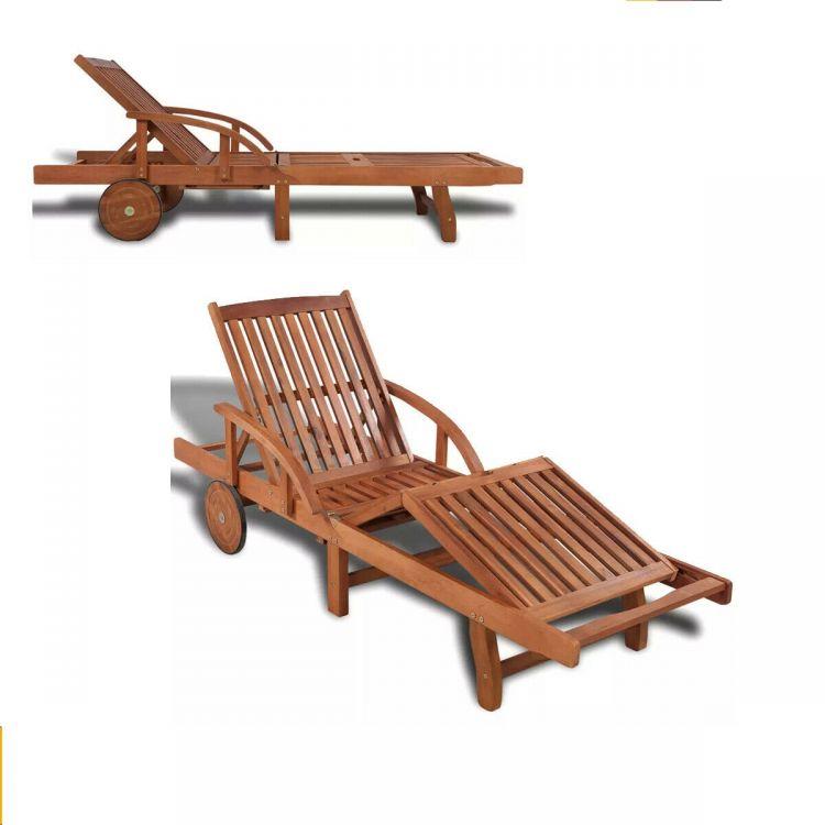 Leżak Regulowany Drewniany Leżak Spa Meble Ogrodowe Relax Leżanka Kółka Sofa łóżko Do Opalania Stolik