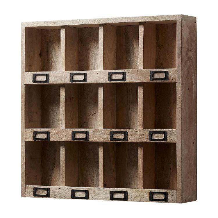 Regał Wiszący Na Książki Dokumenty Półka ścienna Organizer Do Biura Lakarza Drewno Naturalne Loft Industrial