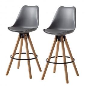 Hoker 2 szt Stołek barowy z naturalnego drewna eko skóra Krzesło barowe zestaw komplet szare