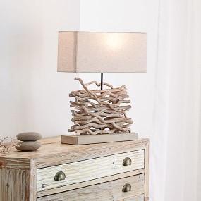 Lampa stołowa z naturalnym drewnem lampka nocna pokojowa 50 cm