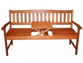 Ławka ogrodowa ławeczka drewniana +składany stolik 3 osobowa 160cm ogród park