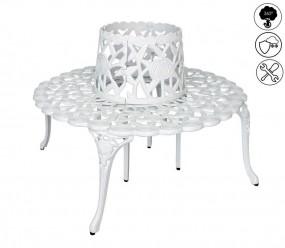 Ławka ogrodowa półokrągła antyczna biała ławka wokół drzewa 360 ° styl