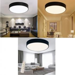 Plafon lampa sufitowa okrągła LED czarna 48W + pilot do regulacji ściemnianie plafon lampa ścienna