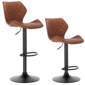 2 x hoker barowy krzesło zestaw hokery skórzane BRĄZOWY regulacja oparcie fotel