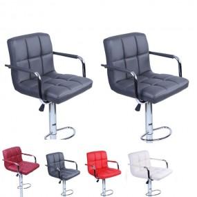 2 x hoker krzesło zestaw hokery skórzane kolory regulacja oparcie fotel