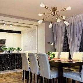 Lampa przemysłowa żyrandol  sufitowy loft 8 ramion antyk salon retro vintage złota oświetlenie LED