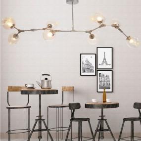 Lampa przemysłowa żyrandol sufitowy szklany 165cm loft 8 ramion antyk salon retro vintage  oświetlenie LED obrotowy