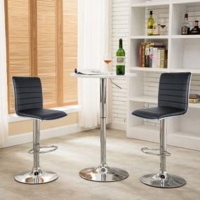 2 x hoker barowy krzesło zestaw hokery skórzane CZARNY regulacja oparcie fotel