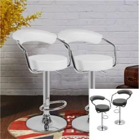 2 x hoker barowy krzesło zestaw hokery skórzane CZARNY/BIAŁY regulacja oparcie fotel