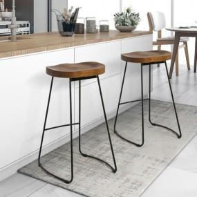 2 x Hoker barowy Stołek kuchenny Zestaw 2 szt Komplet taboret wysokie krzesło
