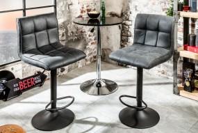 Hoker barowy krzesło tapicerowane szary regulacja oparcie fotel stołek