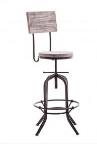 Hoker barowy stołek wysokie krzesło naturalne drewno metal styl industrialny vintage