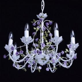 Lampa wisząca sufitowa żyrandol z motywem kwiatowym 8 ramienny biały kwiaty styl