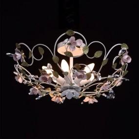 Lampa wisząca sufitowa z motywem kwiatowym plafon żyrandol 6 ramienny biały kwiaty styl