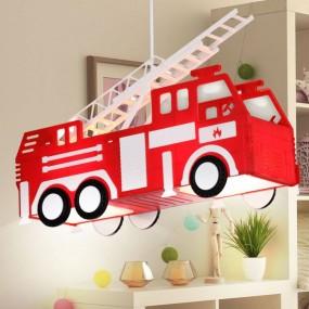 Lampa dziecięca dla dziecka wisząca oświetlenie do pokoju dziecięcego wóz strażacjki straż pożarna