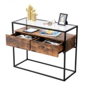Konsola masywny stolik kawowy ława szklana 2 szuflady stół przemysłowy salon pokój drewno żelazo szkło kredens industrial