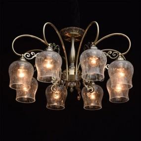 Klasyczny 8 ramienny żyrandol lampa sufitowa wisząca złota złoty szkło styl