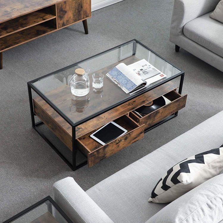Stolik kawowy ława masywna szklana 2 szuflady stół