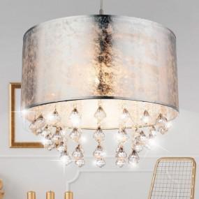 Elegancka lampa sufitowa żyrandol  kryształowy lampa wisząca kryształ klosz srebrny styl