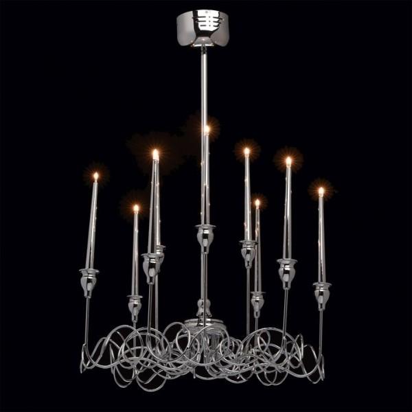 Nowoczesny żyrandol 9 ramienny świece lampa wisząca sufitowa srebrny świecznik design