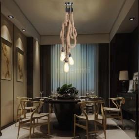 Lampa przemysłowa lina pleciona lampa sufitowa vintage konopia węzeł oświetlenie salon pokój garaż biuro