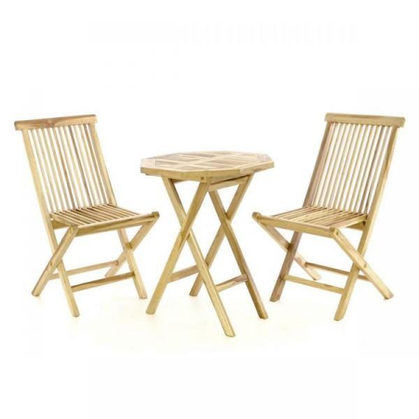 Zestaw mebli ogrodowych stół + 2 krzesła zestaw stolik z krzesłami drewno taras balkon ogród meble drewniane