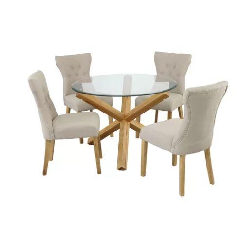 Stół 4 Krzesła Komplet Stolik Z Krzesłami Szklany Stół Okrągły Drewno Zestaw Do Jadalni Salonu
