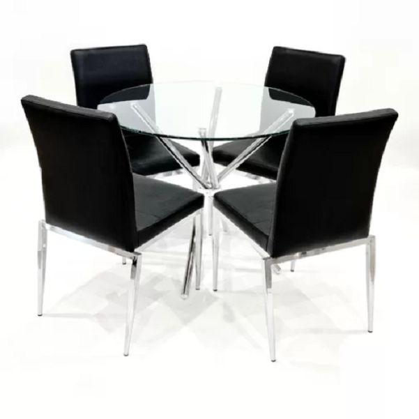 Szklany Okrągły Stół Z Krzesłami Zestaw Stół 4 Krzesła Czarne Do Jadalni Salonu Komplet