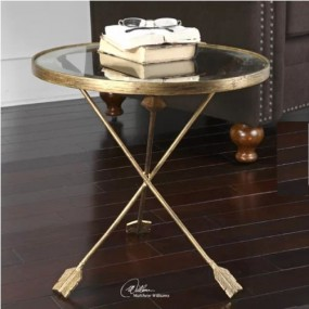 Nowoczesny stolik kawowy szklany stoliczek boczny okrągły szkło złoty złoto do pokoju salonu