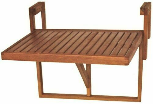 Stolik Ogrodowy Podwieszany Naturalne Drewno Na Balkon Na Barierkę Balustradę Stół Składany Balkonowy Wiszący Regulacja Wysokości