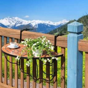 Stolik ogrodowy podwieszany kamienny blat MOZAIKA na balkon na barierkę balustradę  stół składany balkonowy wiszący