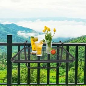 Metalowy stolik ogrodowy podwieszany na balkon na barierkę balustradę wiszący regulacja wysokości