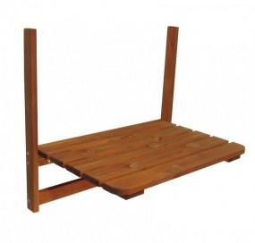 Stolik ogrodowy podwieszany NATURALNE DREWNO na balkon na barierkę balustradę stół balkonowy składany wiszący
