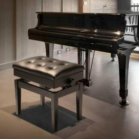Hoker do toaletki pikowany ławka do fortepianu krzesło skórzany CZARNY stołek regulacja