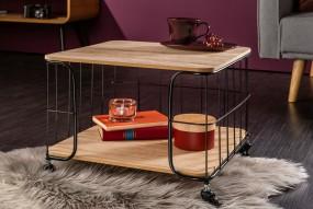 Nowoczesny stół stolik mobilny ława na kółkach półka witryna styl industrialny