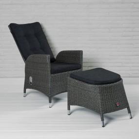 Zestaw nowoczesny fotel krzesło rozkładane regulacja oparcia rattanowe z podnóżkiem stołek rattan relaks ogród taras balkon