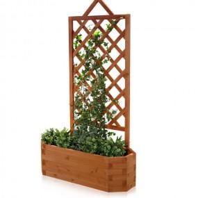 Drewniana pergola z doniczką doniczka drewniana masywna ogrodowa