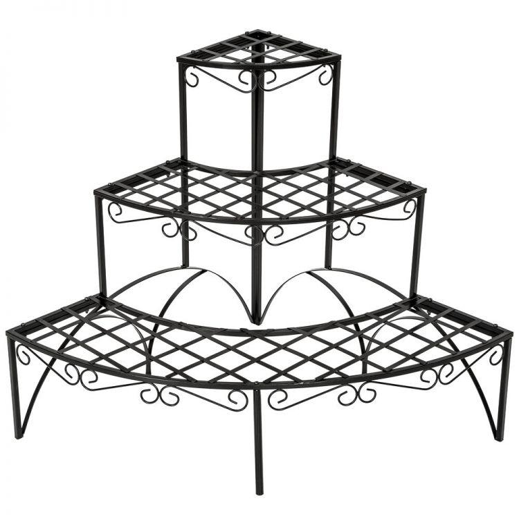 Kwietnik Ogrodowy Narożny Półokrągły Regał Na Kwiaty Duży Metalowy Na Balkon Taras Kwietnik Półki