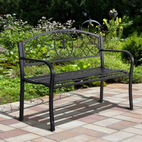 2- osobowa ławka ogrodowa 128 cm ławeczka metalowa nierdzewna czarna