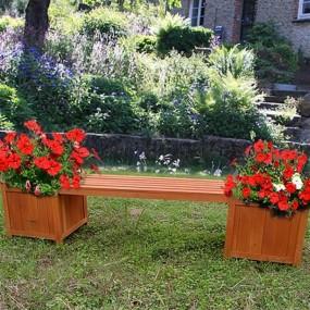 Ławka drewniana ogrodowa z 2 skrzyniami na kwiaty  kwietnik doniczka siedzisko drewniane