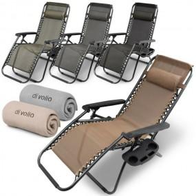 Krzesło ogrodowe składane leżak rozkładany odchylane oparcie fotel z miejscem na napoje z półką