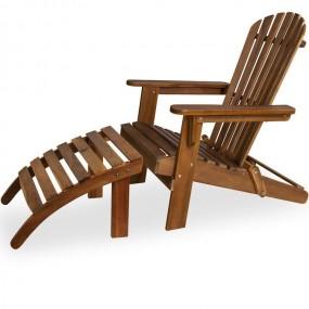 Leżak drewniany z podnóżkiem krzesło drewniane meble ogrodowe relax