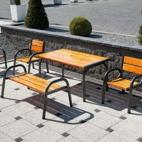 Solidny stół ogrodowy drewniany stolik ława ogrodowa drewno naturalne + metal ogród balkon patio