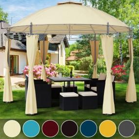 Duży pawilon ogrodowy altana okrągła do ogrodu zadaszenie 350 cm m namiot z zasłonami
