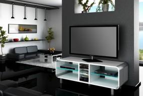 Stolik RTV z podświetleniem LED wysoki połysk glamour półka pod telewizor