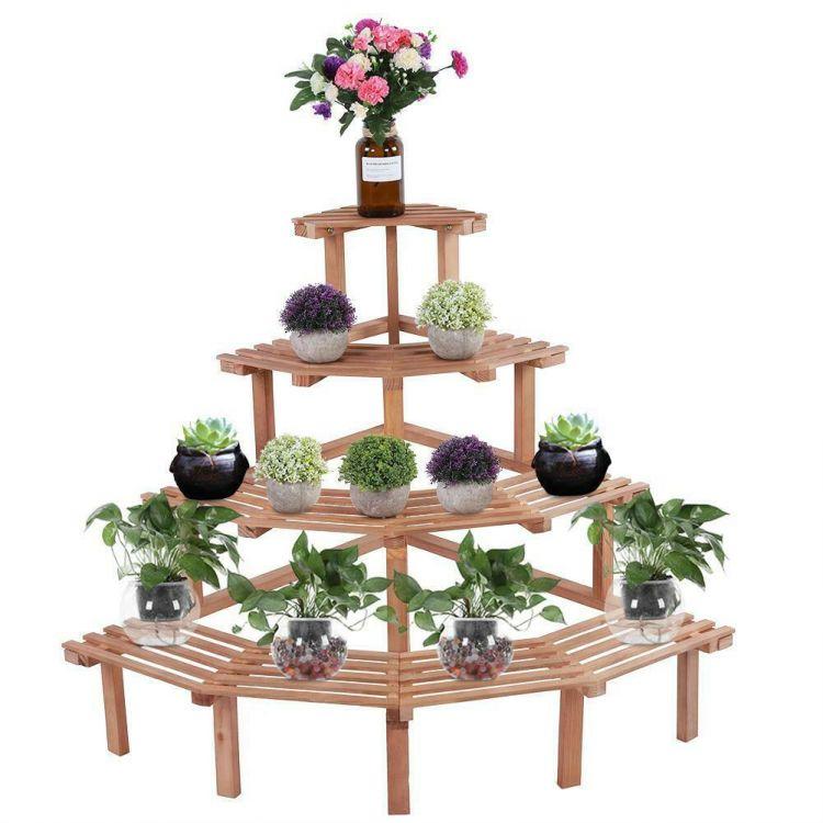 Narożny Kwietnik Drewniany Stojak Na Kwiaty Regał Półokrągły