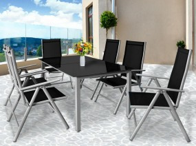 Zestaw mebli do ogrodu stół + 6 krzeseł stolik ława fotel szkło aluminium ogród zestaw wypoczynkowy relax komplet