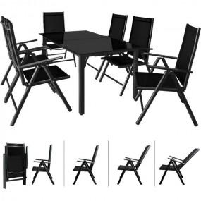 Zestaw mebli do ogrodu stół 150cm + 6 krzeseł stolik ława fotel szkło aluminium ogród zestaw wypoczynkowy relax komplet czarny