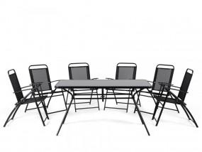 Meble ogrodowe czarne balkonowe stół z 6 krzesłami zestaw mebli ogrodowych metalowych