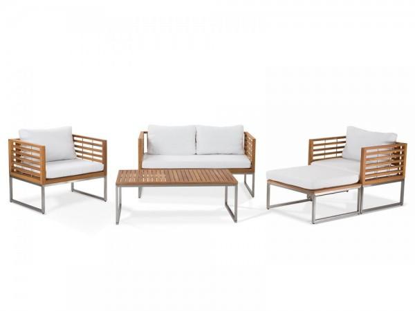 Zestaw mebli ogrodowych stół sofa fotel z podnóżkiem meble ogrodowe drewniane z poduszkami
